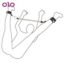 OLO For Women Couples Leather Wrist Ankle Cuffs Stainless Steel With Lock & Keys Spreader Bar Restra