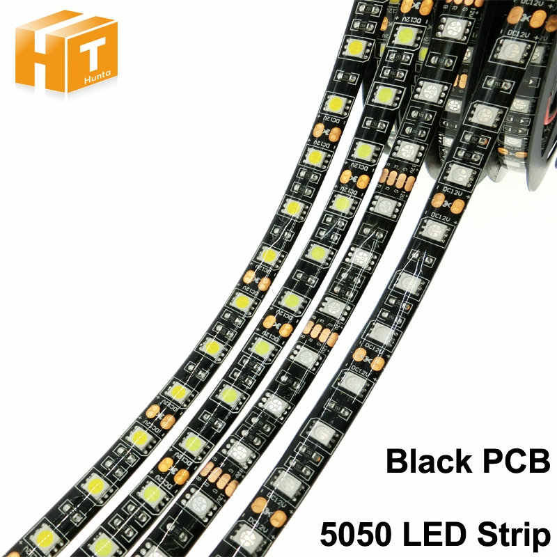 Hitam PCB LED Strip 5050 DC12V Tidak Tahan Air/Tahan Air 60LED/M RGB/Putih/Warm Fleksibel lampu LED Strip.