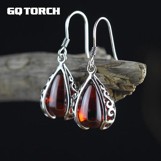 GQTORCH Vintage Ruby Jewelry 925 Sterling Silver Drop Earrings Hooks Hollow Flower Deisgn Natural Gemstone Brincos 2017