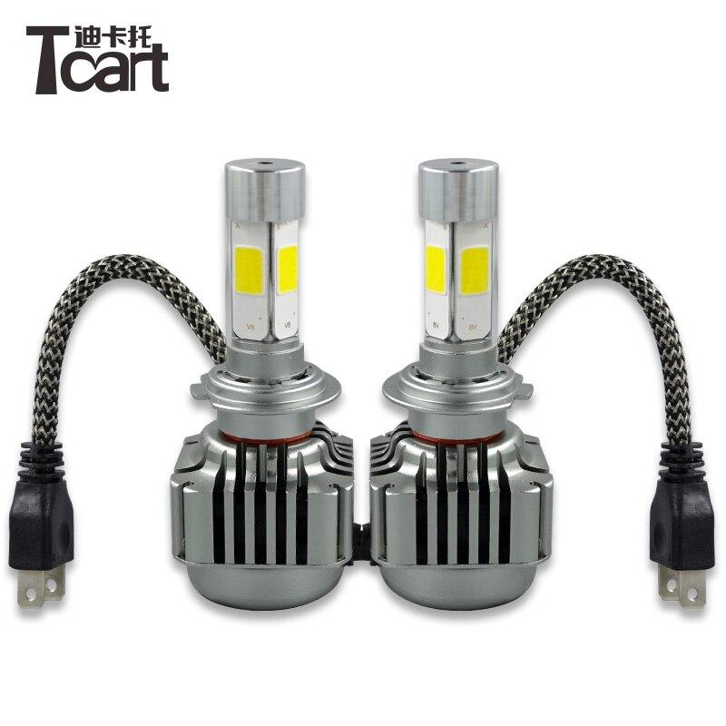 Car Lights Tcart 1set High Bright 80w Replacement Bulb 8000lm Auto Led White Headlamps Car Led V8 H4 H13 9004 9007 Cob Hi/lo Beam Spotlight Unequal In Performance
