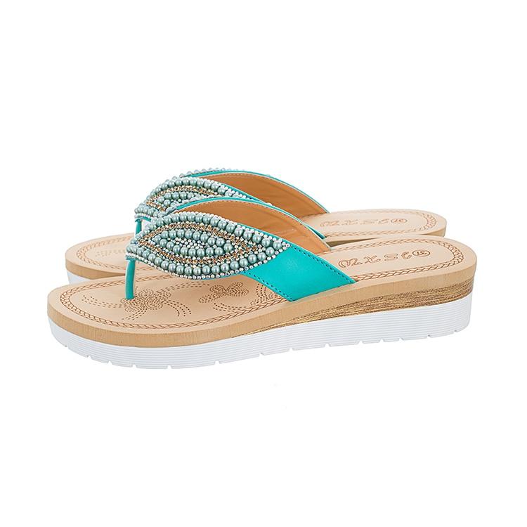 MLJUESE 2018 mujeres zapatillas de verano de color azul de cristal - Zapatos de mujer - foto 3