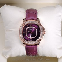 Marca de moda Relojes de Las Mujeres Vestido de Diamantes Relojes de Cuarzo de Las Señoras Del Dial Del Cuadrado de Cuero Genuino Oro Rosa Relojes de Pulsera Montre Femme