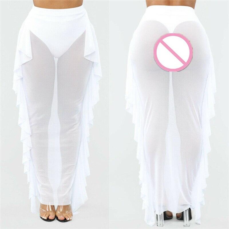 Fashion lady skirt chiffon summer beach gauze ruffled mesh mesh perspective skirt in Skirts from Women 39 s Clothing