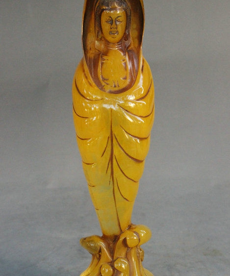 "8"" Tibet Buddhism Man-Made Beeswax Leaf Wrapped Kwan-Yin GuanYin Goddess Statue"