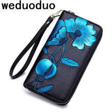 Weduoduo 2019 New Women Wallets Genuine Leather High Quality Long Design Clutch Cowhide Wallet Fashion Female Purse