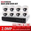 BOAVISION 1080 P 8-КАНАЛЬНЫЙ AHD DVR Системы Kit С 8 ШТ. Открытый Купол ИК 10 м Ночного Видения 1080 P CCTV AHD Камера 2-МЕГАПИКСЕЛЬНАЯ Система Безопасности