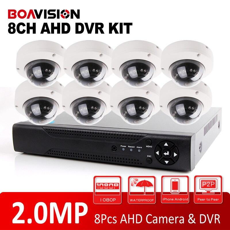 imágenes para BOAVISION 1080 P AHD 8CH Sistema de Cámaras de Seguridad DVR Kit de Sistema de 8 UNIDS Domo Al Aire libre IR 10 m Visión Nocturna CCTV AHD Cámara de 2MP