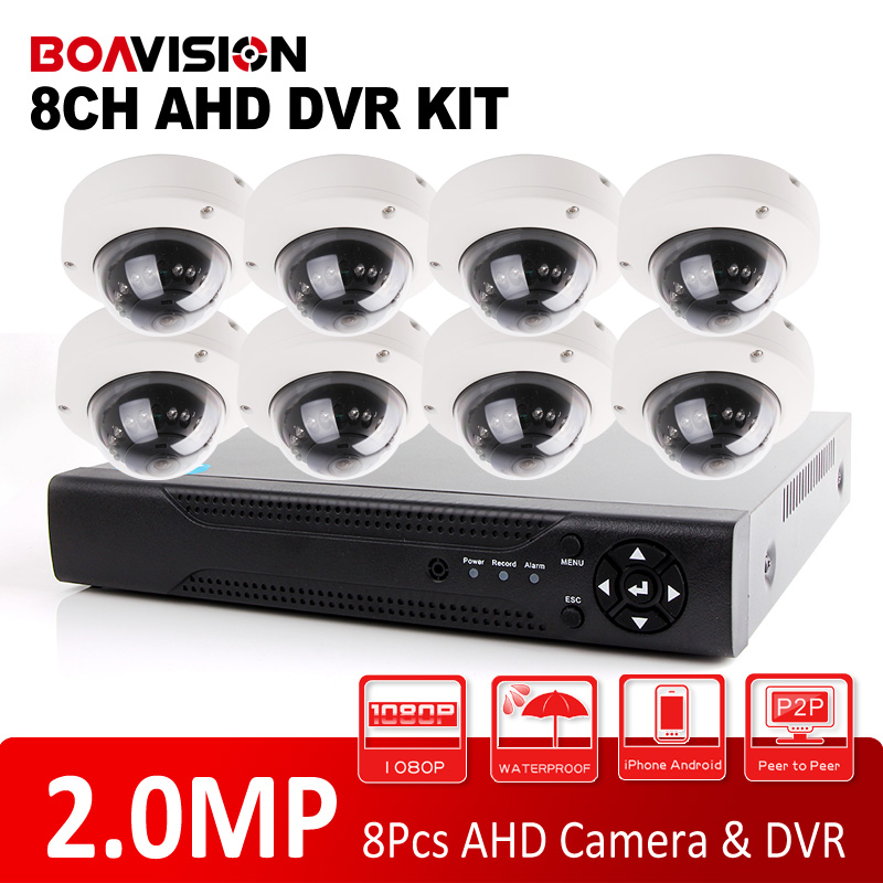 bilder für BOAVISION 1080 P Security Camera System 8CH AHD DVR System Kit Mit 8 STÜCKE Outdoor Dome IR 10 mt Nachtsicht CCTV AHD Kamera 2MP