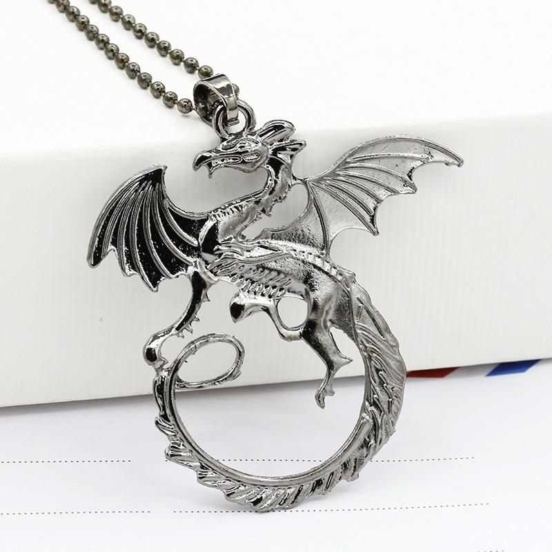 Game of Thrones Vintage Silver Vivid Targaryen Dragon Pendant Necklace (around 50cm)