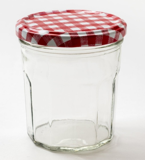 Merveilleux 150ML/250ML/400ML Wide Mouth Glass Jam Jars With Red Checked Lids,Pack