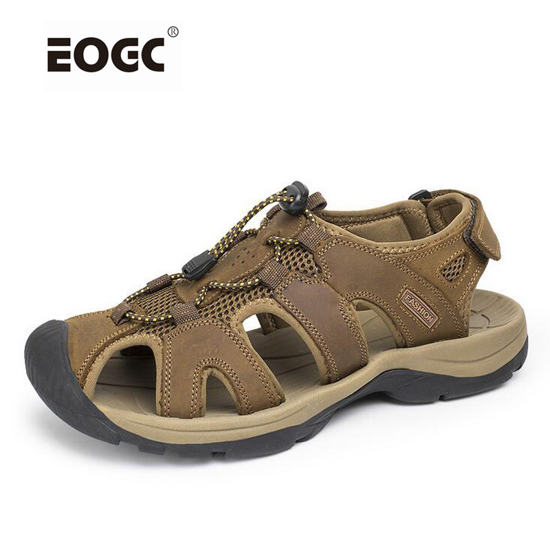 Plus Size Men Sandals Genuine Leather Men Shoes Fashion Outdoor Summer Shoes Slippers Breathable Mens Sandals