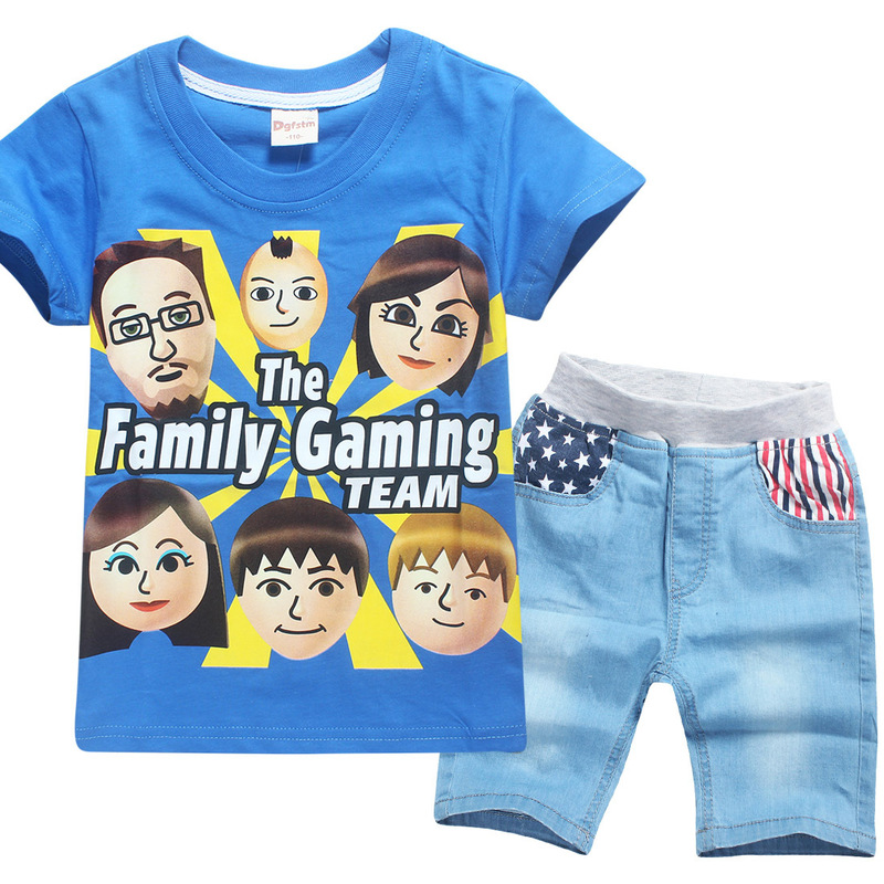 Summer 2018 Family Face Kids Clothes Set for Boys Girls Tops Tees Family Gaming Teens Siwa Roblox Clothing T-shirt + Pants