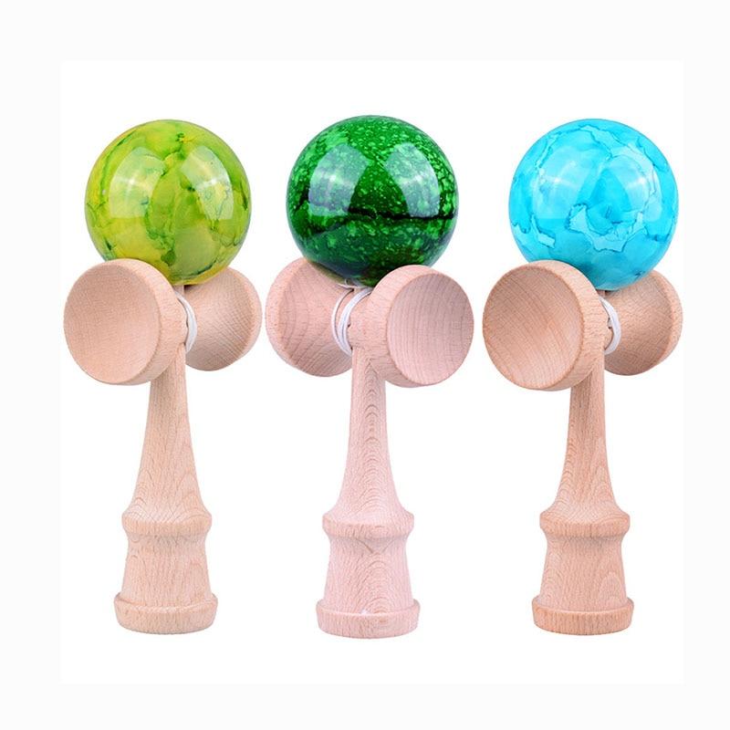 18CM Professional Kendama Balls Marble Color Skillful Juggling Wooden Balls Toys Outdoor Games For Kids Children