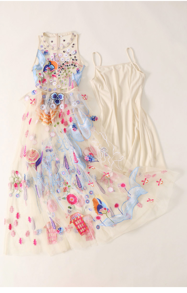 18 Summer Women Sleeveless Dress Vest Long Dress Party Dress Sexy Perspective Embroidered Dresses 9