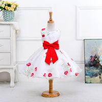 2017 New Girls Summer Sleeceless Flower Big Bow Princess Dresses 2 12 Years Children Clothing For