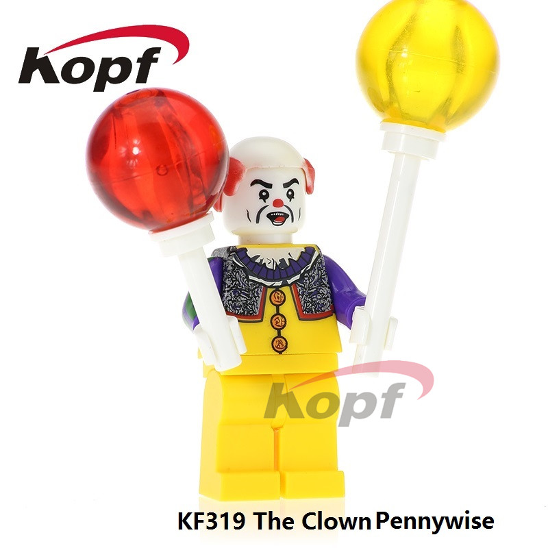 Single Sale The Clown Pennywise Costume Joker Harley Quinn Building Blocks Super Heroes Bricks Education Toys for children KF319 super heroes single sale the villain of yellow lantern skeletor heman he man he man building blocks toys for children gift kf921