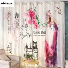 Creative Digital printing Logo design Princess shade curtains living room Bay window End product curtain custom