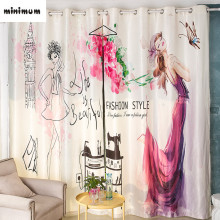 Creative Digital printing Logo design Princess shade curtains living room Bay window End product curtain custom made