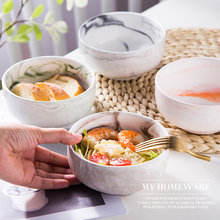 Simple marble ceramic soaked noodles bowl salad snack soup household tableware rice bowl 5 6 8 inch japanese cherry blossom ceramic ramen bowl large instant noodle rice soup salad bowl container porcelain tableware