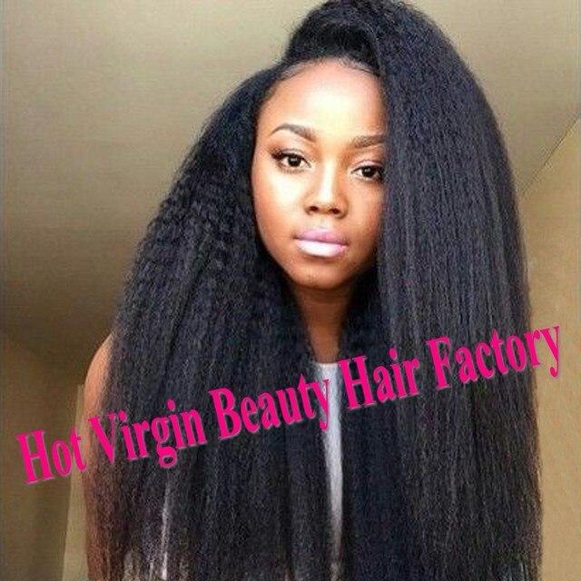 Unprocessed Virgin Indian Full Lace Wigs Coarse Yaki Human Hair Wigs