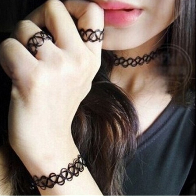 1 Set Summer Style Collares Women Girls Vintage Stretch Tattoo Choker Necklace S