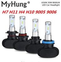 MyHung S1 רכב פנס 50 W 8000LM הנורה רכב H4 H7 אור 9004 9005 9006 9007 H10 H11 רכב אביזרי