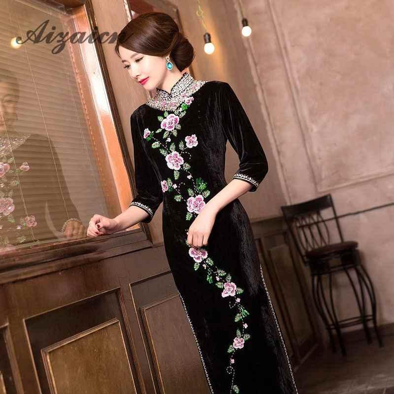 2e447b892 ... Long Green Pleuche Traditional Qipao Women's Chinese Cheongsams Velvet  Vestido Oriental Sequins Embroider Dress Qi Pao