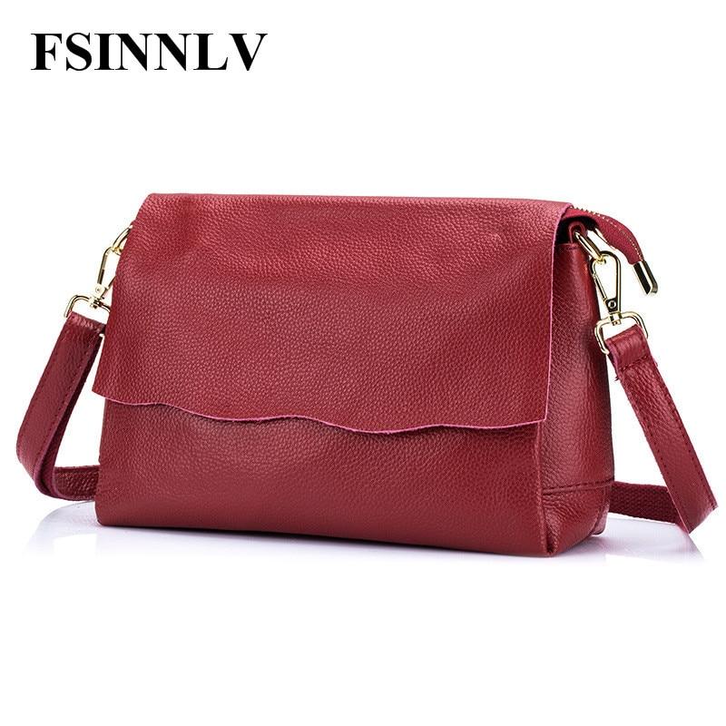 FSINNLV 2018 Fashion Genuine Leather Women Messenger Bags Crossbody Bag High Quality Female Shoulder Bags Clutch Handbag DC210