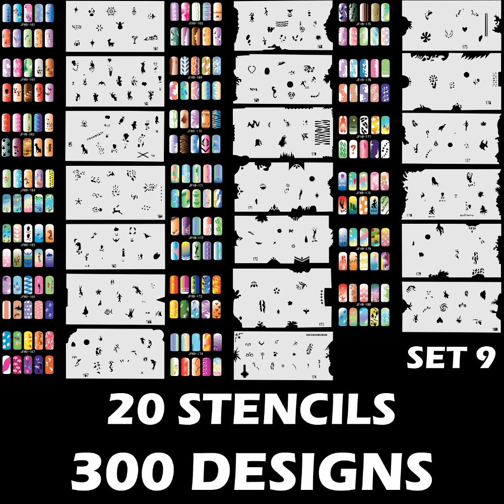 Colopaint Custom Airbrush Nail Art Stencil Set 9 with 20 Stencil Template Design Sheets (300 Designs)