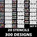 Custom Body Art Nail Art Airbrush Stencil Set 9 con 20 Hojas de Diseño Plantilla Stencil (300 Diseños)