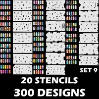 Custom Body Art Airbrush Nail Art Stencil Set 9 with 20 Stencil Template Design Sheets (300 Designs)