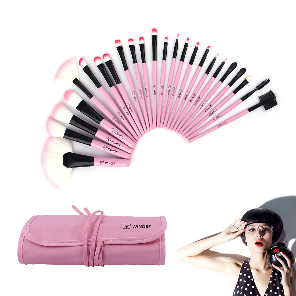 24pcs Vander Pink Makeup Brushes Kits For Beginners Make Up,Eye Face Lip Cosmetic Brush Beauty Tools Set + Case makeup brushes hot sale 2016 soft beauty woolen 24 pcs cosmetic kit makeup brush set tools make up make up brush with case drop shipping 31