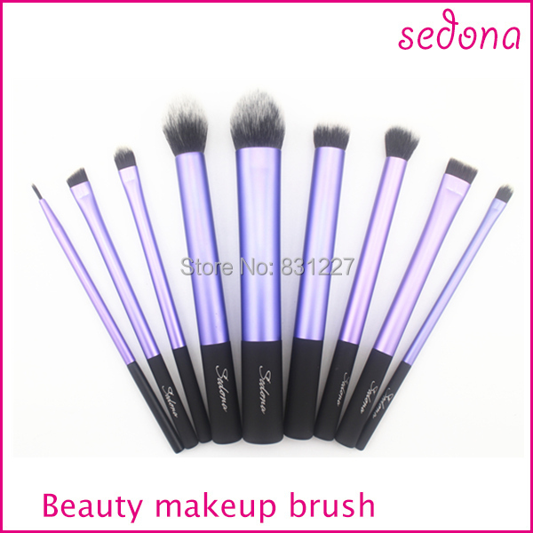 Sedona makeup brushes with white holder,9pcs cosmetic brush into box package,three color
