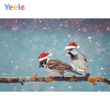 Yeele Christmas Hat Bokeh Lights Birds Family Party Photography Backdrops Personalized Photographic Backgrounds For Photo Studio