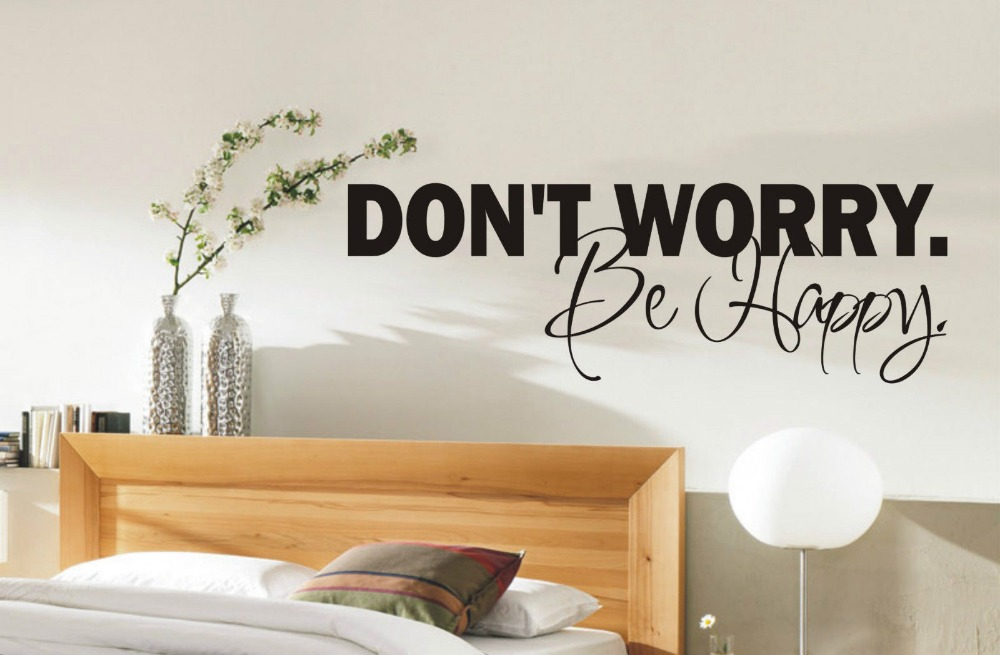 Dont worry be happy wall sticker quote bedroom living for Living room decor quotes