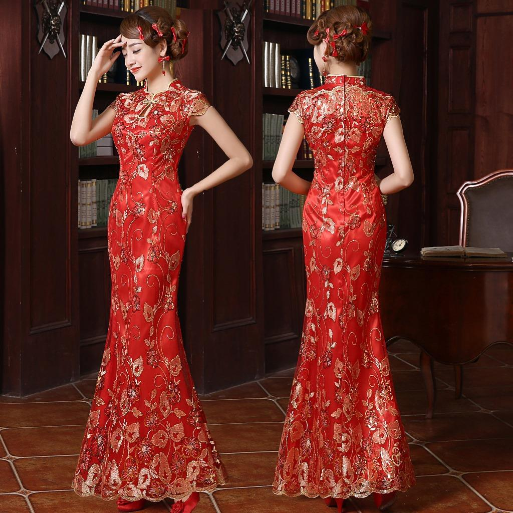 Red and gold wedding sequins beaded embroidered lace qipao for Red and gold wedding dress