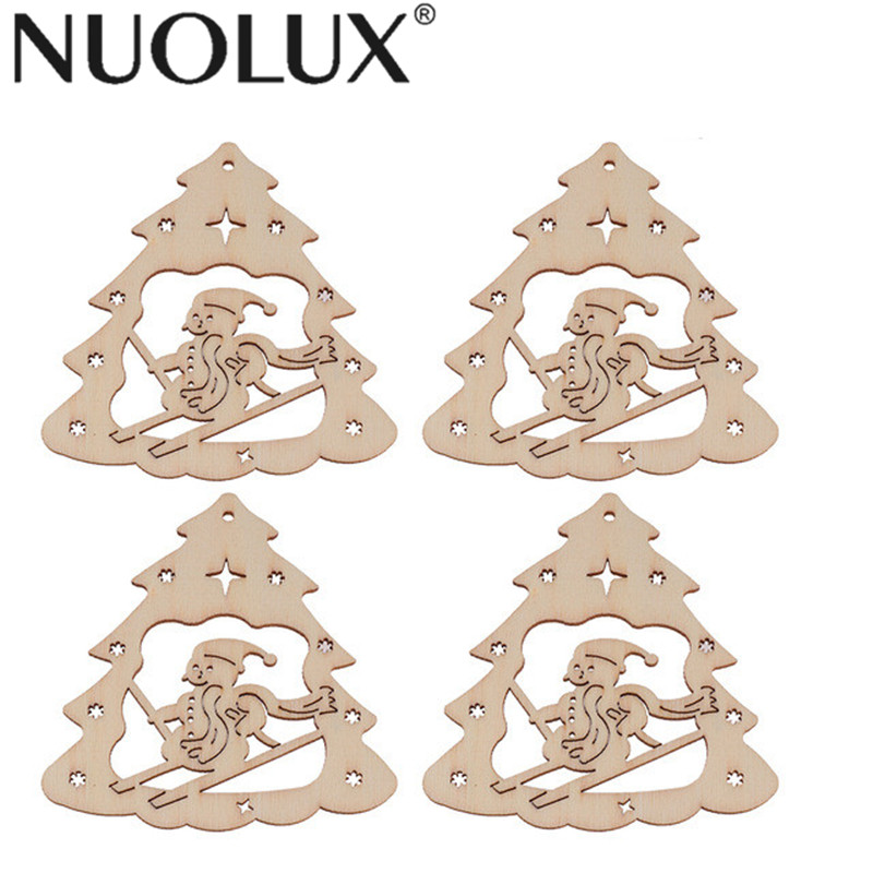 Christmas Tree Cutout.Us 1 68 45 Off 10pcs Wooden Snowman Ckristmas Tree Discs Wood Cutout Slices For Christmas Tree Decor Pendants Hanging Decorations Wood Tags In Wood
