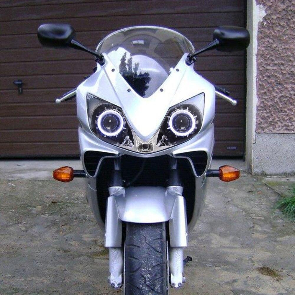 Kt Headlight For Honda Cbr600f4i 2001 2007 Led Angel Eye Motorcycle