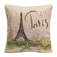 French Tower Eiffel Tower Throw Pillow Case Decorative Cotton Linen Cushion Cover Pillowcase Customize Gift For Sofa