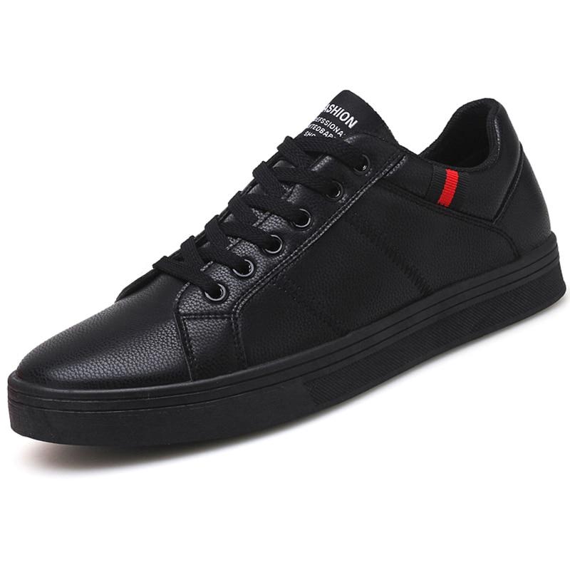 Brand Autumn Men Casual Shoes Fashion Sneakers Leather Footwear Soft Rubber Men Flats Shoes White Mens Shoes Sales Flat Designer Обувь