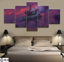 Hot Sales Without Frame 5 Panels Picture Future Cosmic Robot Canvas Print Painting Artwork Wall Art Wholesale
