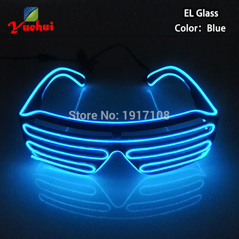 Crazy Hot EL LED Gafas Luminous Colorful Glowing Dance DJ Party Gafas decorativas de obturador con 3V intermitente / constante en el inversor