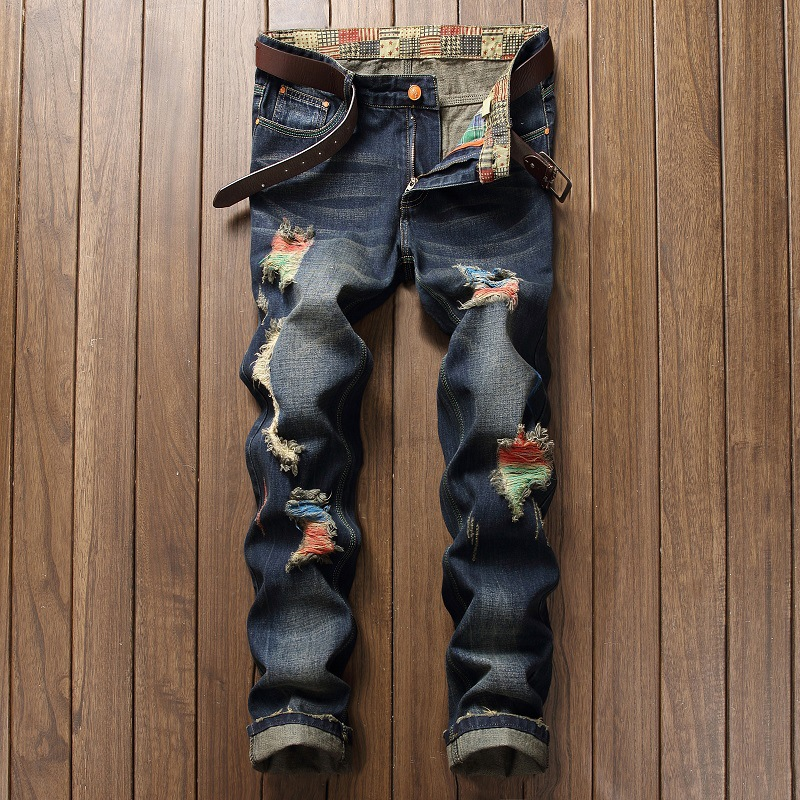High Quality Ripped Jeans Men Jeans Fashion Design With Hole England Style
