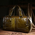 Vintage 100% Guarantee real genuine leather men handbags Fashion Oil leather shoulder duffel bag  Casual men's travel bags