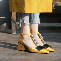 Hanbaidi Spring summer satin silk ladies Pumps middle heels crystal bowties one strap dress shoes women yellow black rhinestone