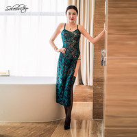 Selebritee Womens Sexy Lingerie Set Vintage Chinese Style Cheongsam Charming Clothes Lust Temptation Ladies Sleepwear Nightdress