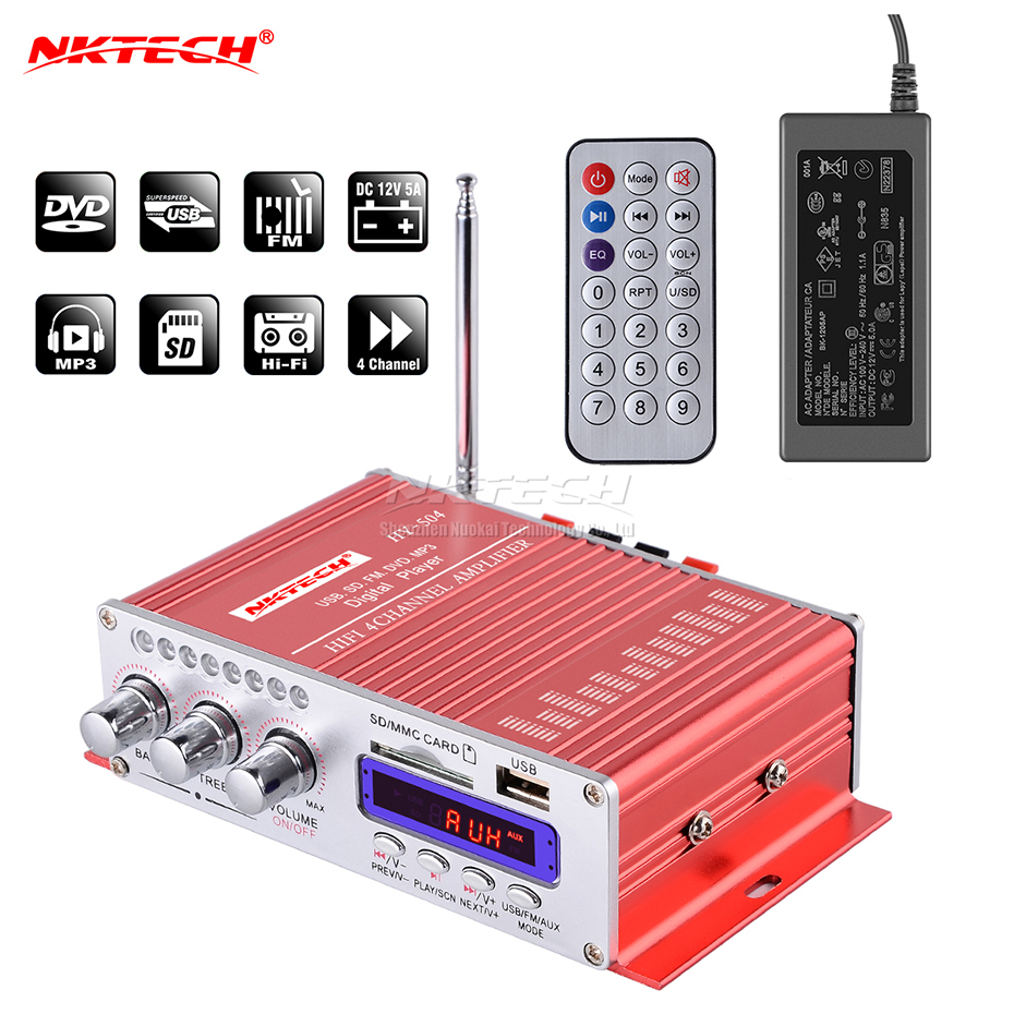 NKTECH HY-504 Car Audio High Power Digital Amplifier 4CH x 45W Hi-Fi FM Radio Player Support SD USB DVD MP3 Motorcycle Vehicle s 750 hi fi stereo digital amplifier w fm sd usb for car motorcycle black