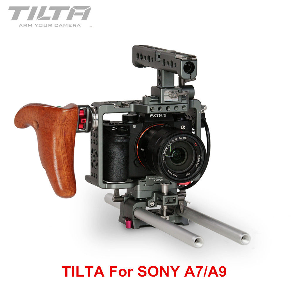 Tilta ES T17 A1 Rig Cage + Wooden Handle For Sony A7 A9 A7S2 A7R2 A7III A7R3 A7M3 A7S3 A9 Rig Cage For SONY A7/A9 series camera