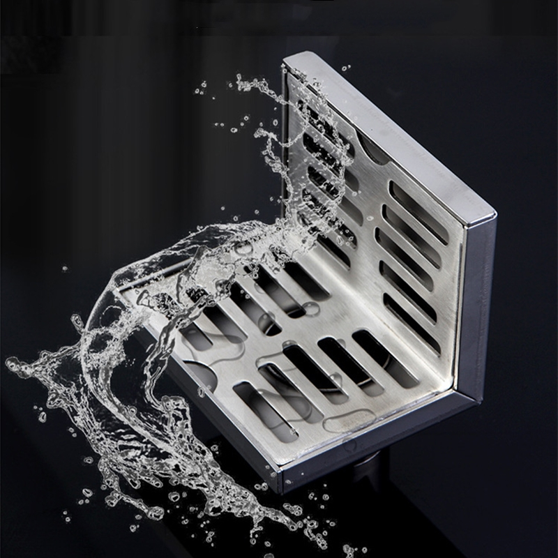 Stainless Steel Bathroom Floor Drain Tile Insert Shower Linear Drain Grate Drainer Shower Drain Channel Water Outlet