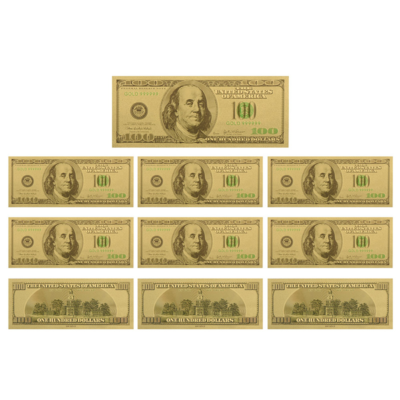 WR <font><b>100</b></font> <font><b>Dollar</b></font> 24k <font><b>Gold</b></font> Banknote Home Decorative Usd <font><b>100</b></font> World Paper Money Fake <font><b>Bill</b></font> Note Whoesale Gift Money for Collection image